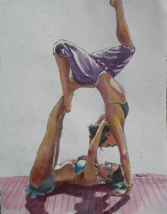 Acro Yoga Duet, 12 x 9 in, watercolour and ink on handmade Indian rag paper