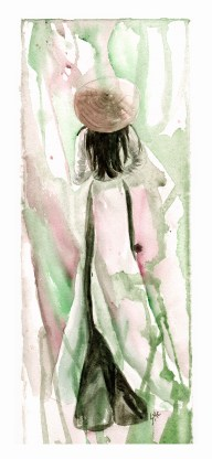 Ao Dai Woman, 15 x 5.5 in