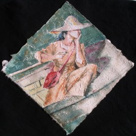 Inlé Watertaxi, 13 x 13 in, watercolour