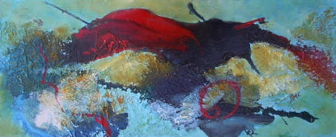 Pretty Red Wing, mixed media - SOLD
