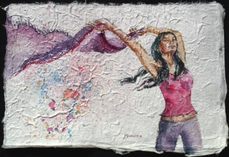 Scarf Dance I, 7.5 x 11 in, watercolour on handmade saa paper