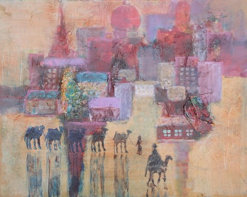 Silk Road Stopover, 16 x 20 in, mixed media