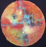 Window On My Soul, 12 in diameter, mixed media