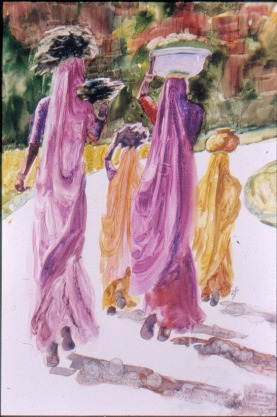 Woodcarriers of Udaipur, 12 x 9 in sold