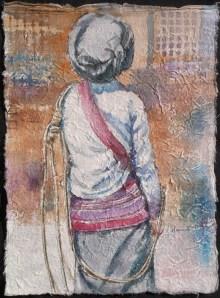 Black Lisu Porter I, watercolour on handmade saa paper, 12 x 9 in,