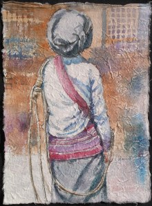 Black Lisu Porter I, watercolour on handmade saa paper, 12 x 9 in,