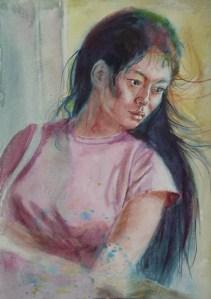 Ferry Ride II, watercolour, 12 x 9 in