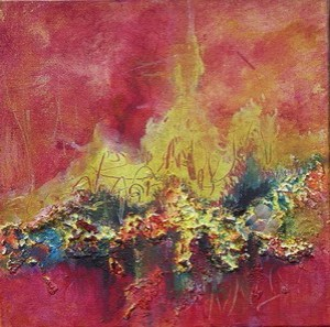 Fire Dance I, mixed media SOLD