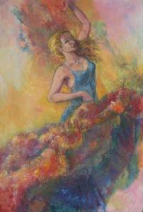 Flamenco, 36 x 24 in, mixed media, sm