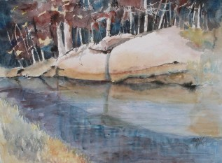 Foley Mountain Beaver Pond, 22 x 30 in, watercolour and ink