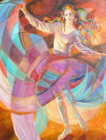 Gallaxy Dancer, 40 x 30 in, acrylic, sold