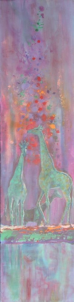 Giraffe Carnival, 48 x 12 in, acrylic,sm