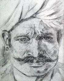 Handsome Rajput, pencil sketch, 4 x 3 in