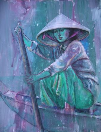 Mekong Boatwoman, 30 x 24 in, acrylic on hardboard, sold