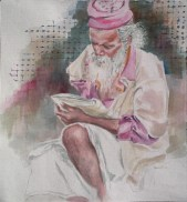 Learning English III, 13 x 11 in, watercolour on handmade rag paper