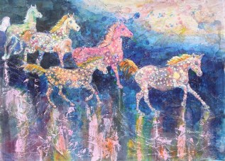 Painted Ponies II, 22 x 15 in, acrylic