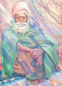 Rishikesh Sadhu, 30 x 24 in, acrylic