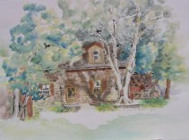 Sculley Homestead, 22 x 30 in, watercolour and ink