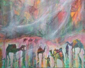 Silk Road Squall, 24 x 30 in, mixed media