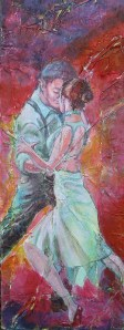 Tango Fire II, mixed media collage, 24 x 9 in sm v2