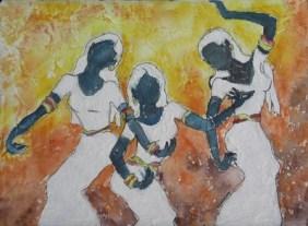 Thai Dancers IV, watercolour, 9 x 12 in