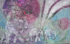 The Moon by Elephants Light I, 9 x 6 in, mixed media collage