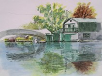 Westport Harbour Boat House, 22 x 30 in, watercolour and ink