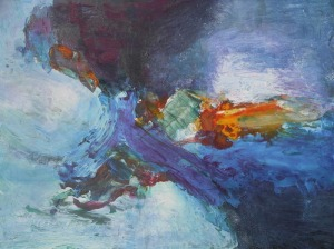 White Water I, 24 x 18 in, mixed media, small