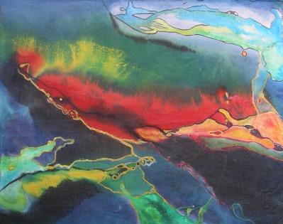 Hawaii's Dancing Coral, 24 x 28 in, acrylic on canvas