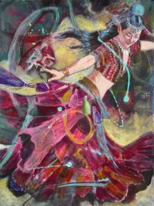 Seminole Swirl, 30 x 22 in, acrylic sm