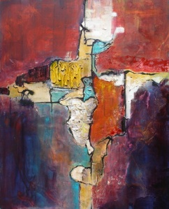 Fractured III, 30 x24 in, mixed media collage