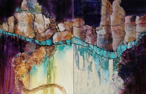 Fractured Earth Diptych II, 24 x 36 in, mixed media collage