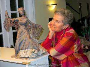 Shirley Admiring her Tribal Madonna piece, Spirits WorkshopJan14