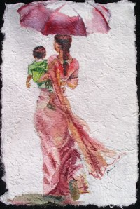 My Son II, watercolour on handmade saa paper, 12 x 8 in,small