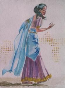 Romany Wild Child, watercolour, 12 x 9 in,small