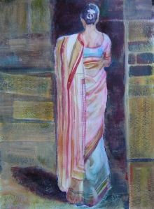 Sari Elegance, 30 x 22 in, mixed media sm