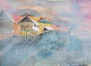 Laos Village, 9 x 12 in, mixed media