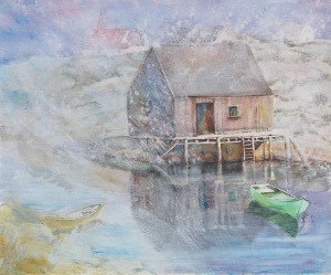 Peggy's Cove, mixed media