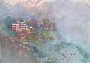 Sacred Himalayas II, mixed media