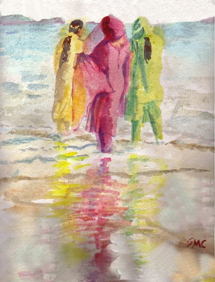 Beach Reflections1, 12 x 9 in, watercolour, restored